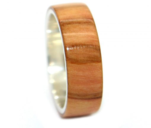 Olivewood wooden wedding rings striped