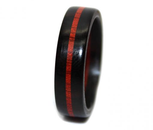 Red and black wooden anniversary ring bloodwood