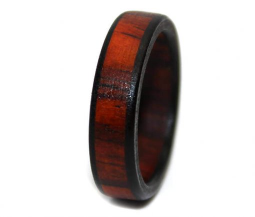Cocobolo rosewood wooden wedding bands black