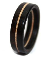 Maple wooden wedding rings with blackwood inlay