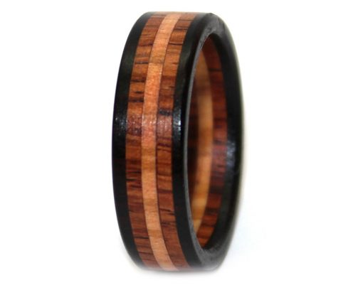 Blackwood, rosewood and olivewood wood ring mens gift