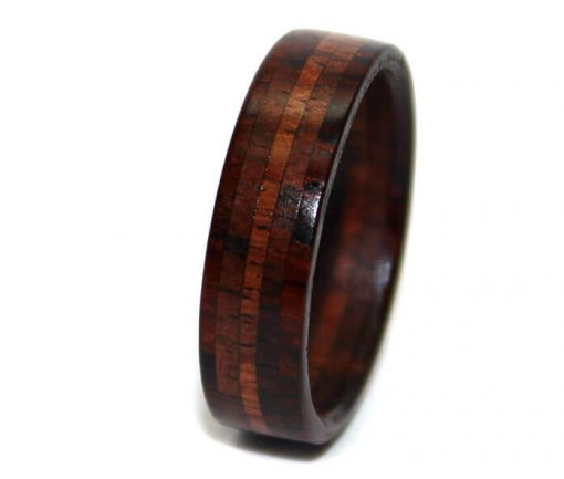 Rosewood and Cocobolo wooden wedding bands for gift
