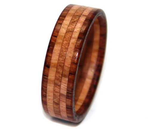 rosewood and olivewood wooden wedding ring for men