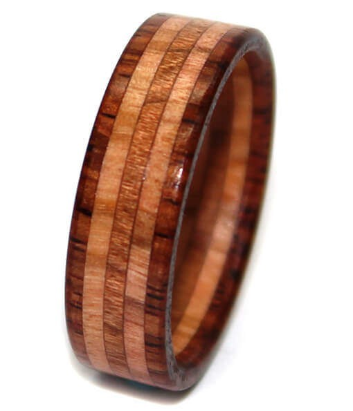 rosewood and olivewood wooden wedding ring for men - Wooden Wedding Ring