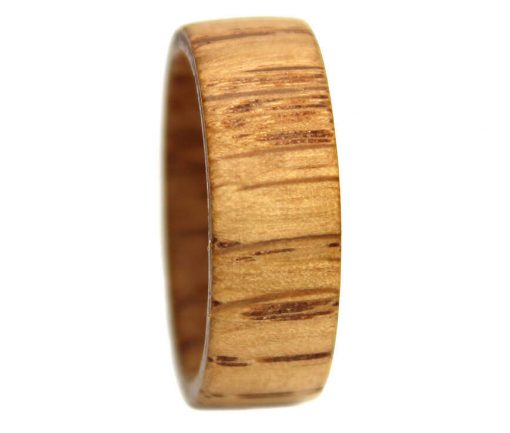 Striped oak white wood ring mens for engagement