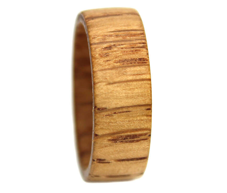 Wooden ring of oak on tungsten ring
