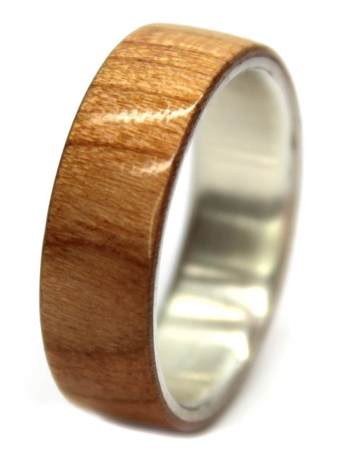 Birch and silver custom wood ring for wedding