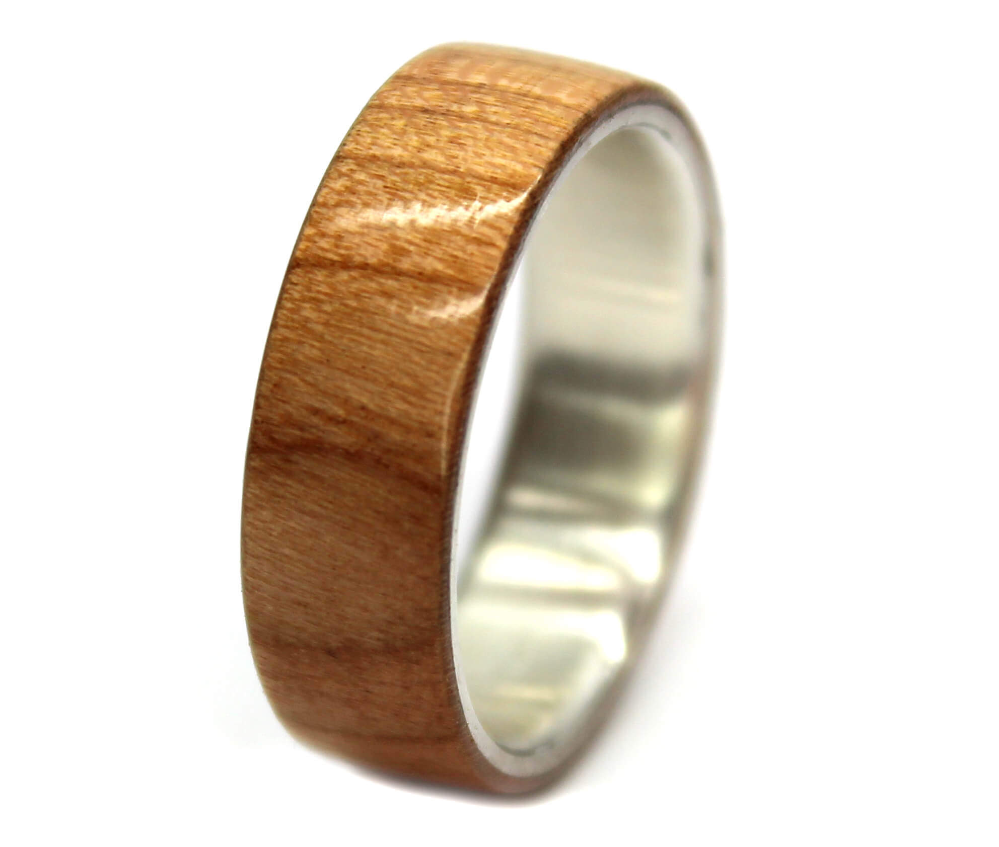 Birch & Sterling Silver Wooden Rings