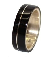 Blackwood and sterling silver wooden wedding rings
