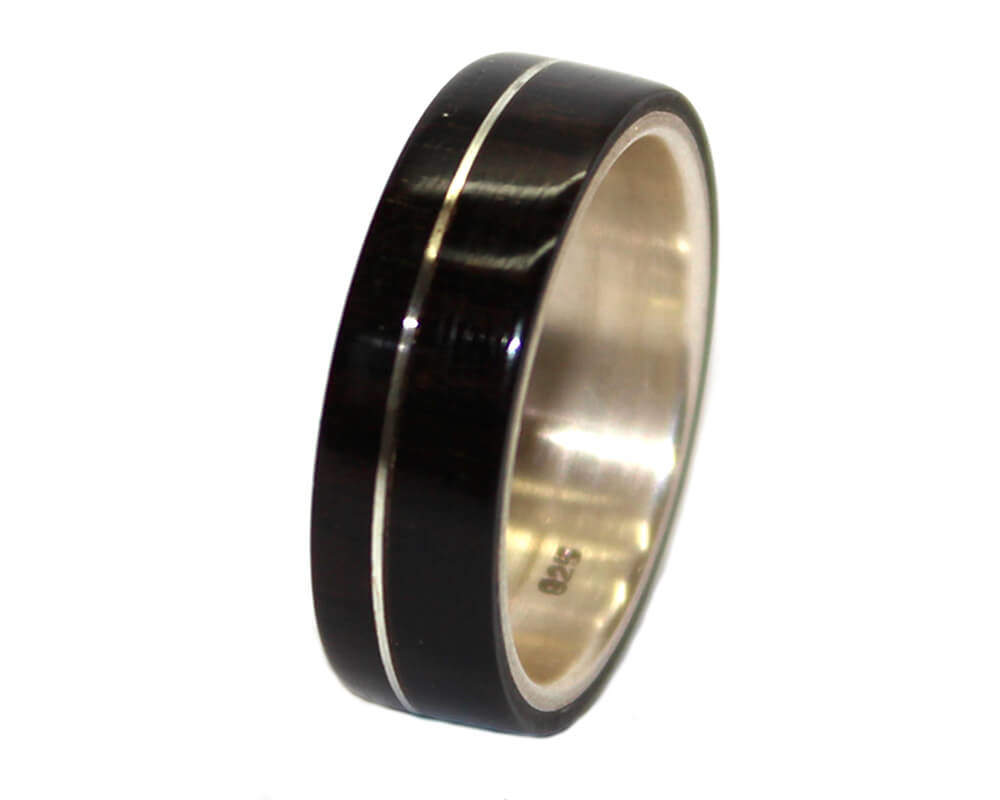 Blackwood Sterling Silver Inlay Wooden Rings