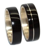 Blackwood and sterling silver inlay wooden rings set for wedding
