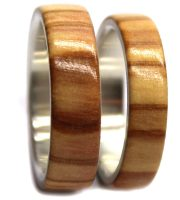Silver wooden ring set with olivewood for engagement