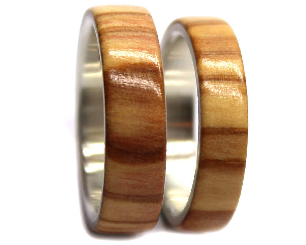 olivewood sterling silver wood ring set wooden rings