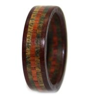 Green brown and mahogany wood rings women band