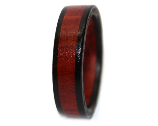black and red wood ring mens bloodwood woodenrings.com