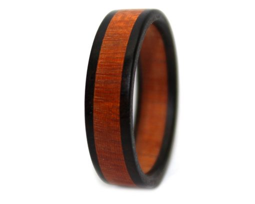 Orange and black wooden ring bands