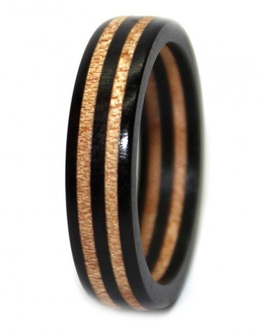 Blackwood and maple wooden engagement ring