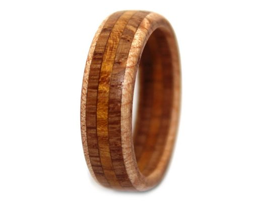 Maple, Oak and Osage wooden anniversary ring with inlay