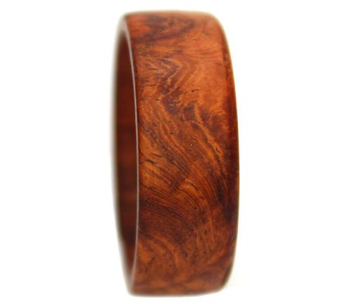 Amboyna burl wooden engagement ring for men
