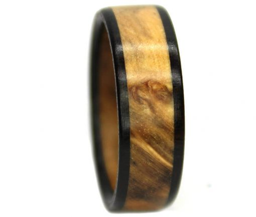 Gold burl wood engagement rings with blackwood band