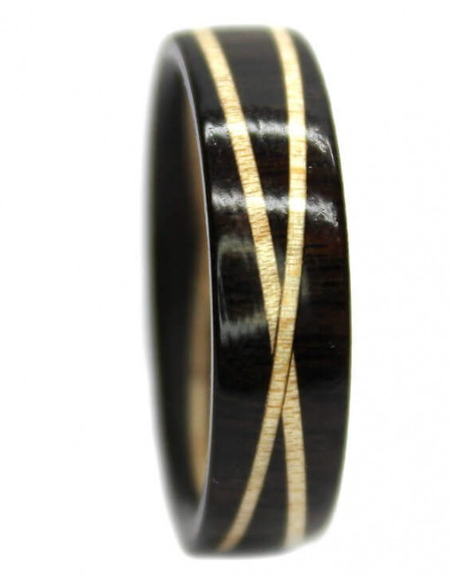 Blackwood and maple custom wooden rings inlay
