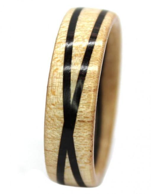 Blackwood and maple custom wooden rings