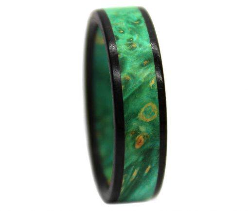 Green burl wooden wedding rings with blackwood for gift