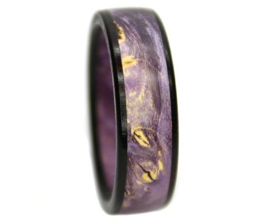 Purple burl wooden ring bands with blackwood ring