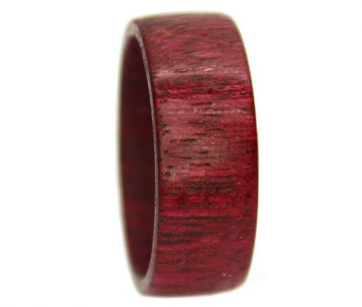Purpleheart wooden ring bands in wide design for women