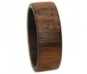 Walnut wide band wooden promise ring