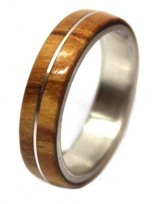 Olivewood and sterling silver inlay wedding band