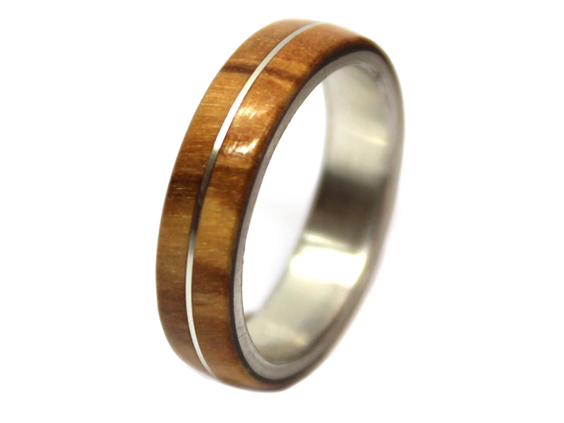 Olivewood & Sterling Silver Inlay Wooden Ring Wooden Rings