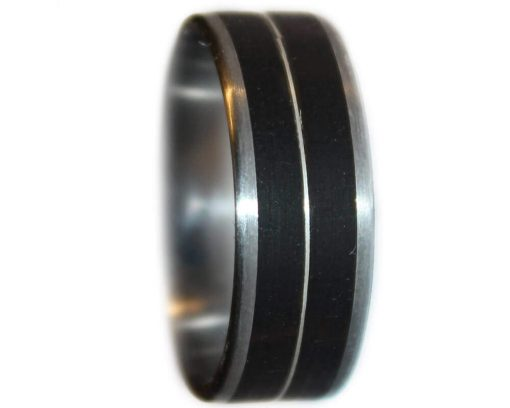 Blackwood and sterling silver inlay wooden wedding rings with stainless steel core
