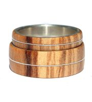 Olivewood and sterling silver inlay wood wedding rings sets