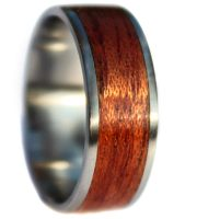 Stainless wooden ring bands with mahogany for wedding