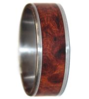 Stianless steel and amboyna burl wood wedding rings handmade in USA
