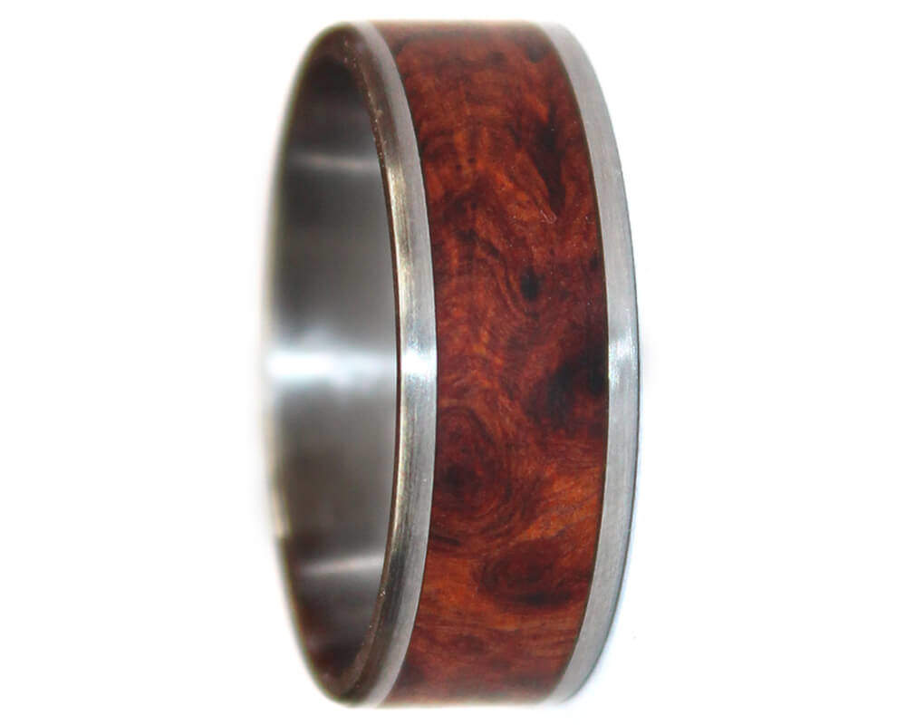 Wood Wedding Rings.Amboyna Burl And Stainless Steel Wooden Ring