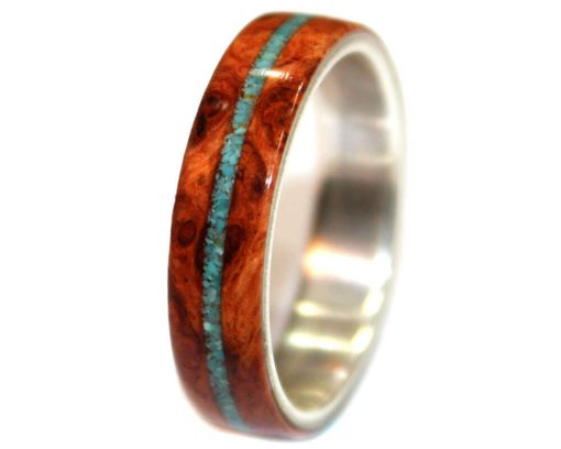 Amboyna burl with crushed turquoise custom wood ring for wedding