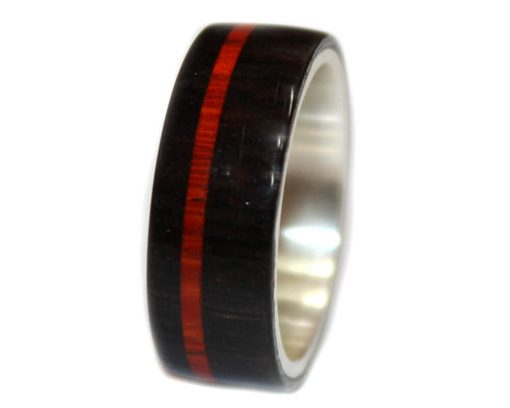 Blackwood and bloodwood inlay wood rings sterling silver for women