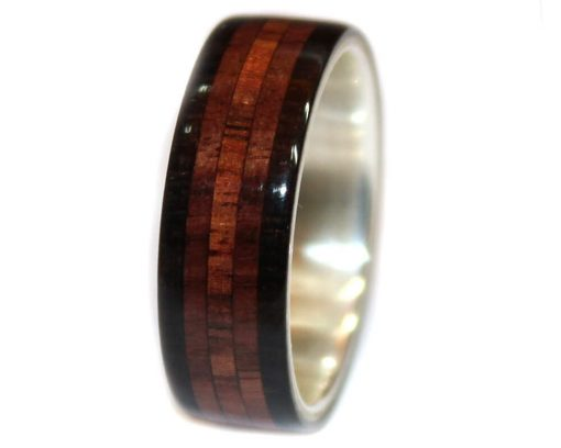Blackwood rosewood and layered wood ring for wedding