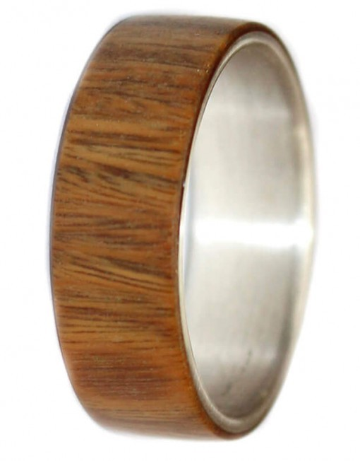 custom wooden rings with lignum vitae and silver