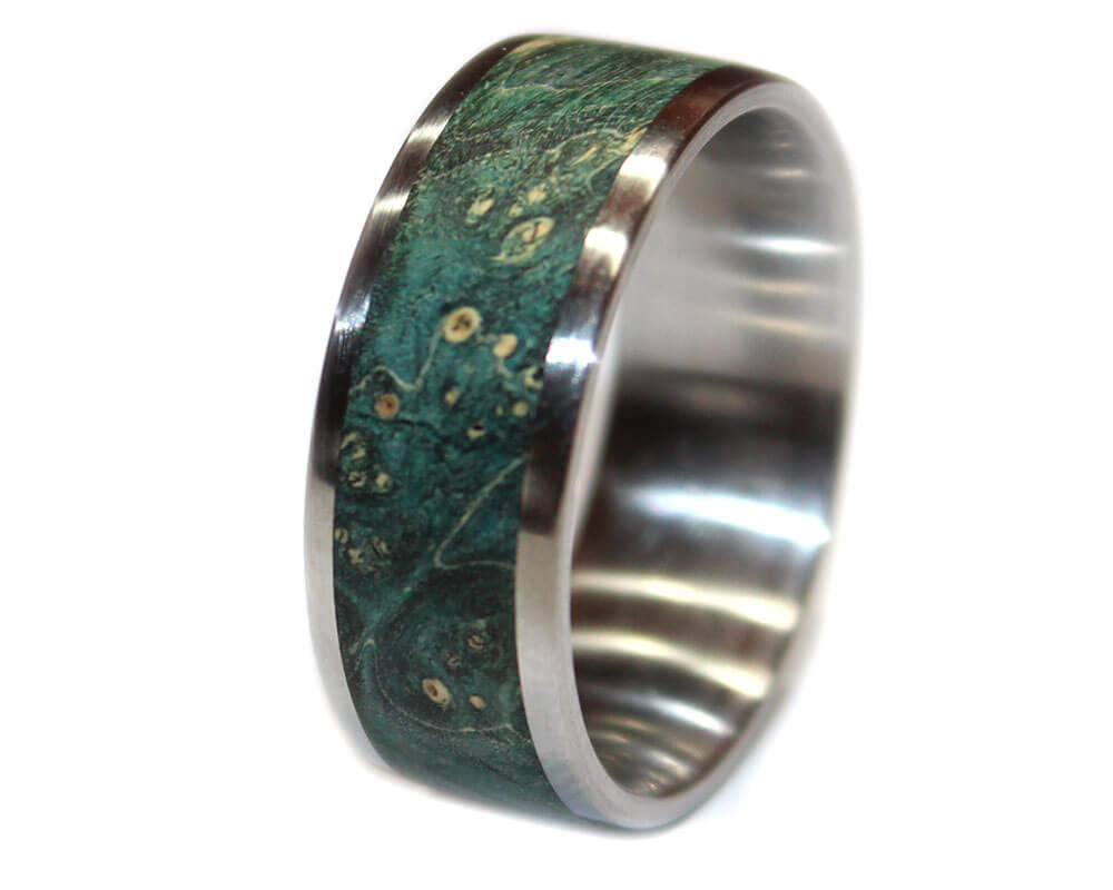 Turquoise Burl And Stainless Steel Wooden Ring
