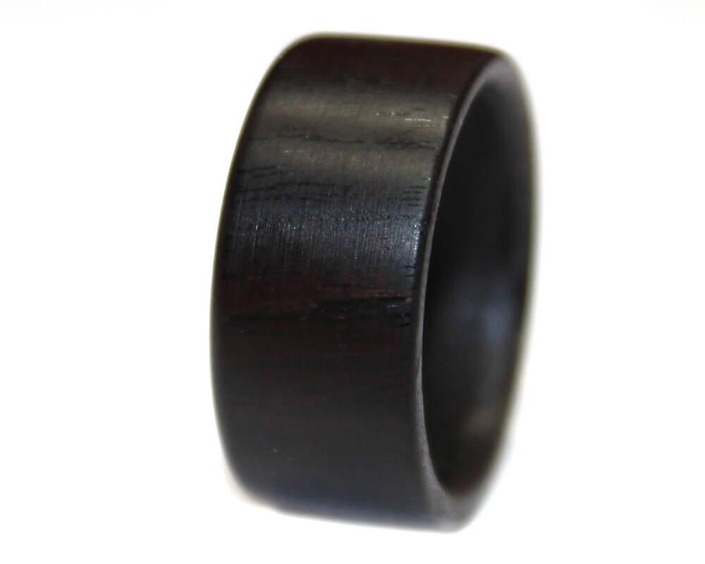 African Blackwood and Zebrawood Band Custom Made Wood Ring
