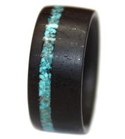 Blackwood and crushed turquoise inlay wooden engagement ring