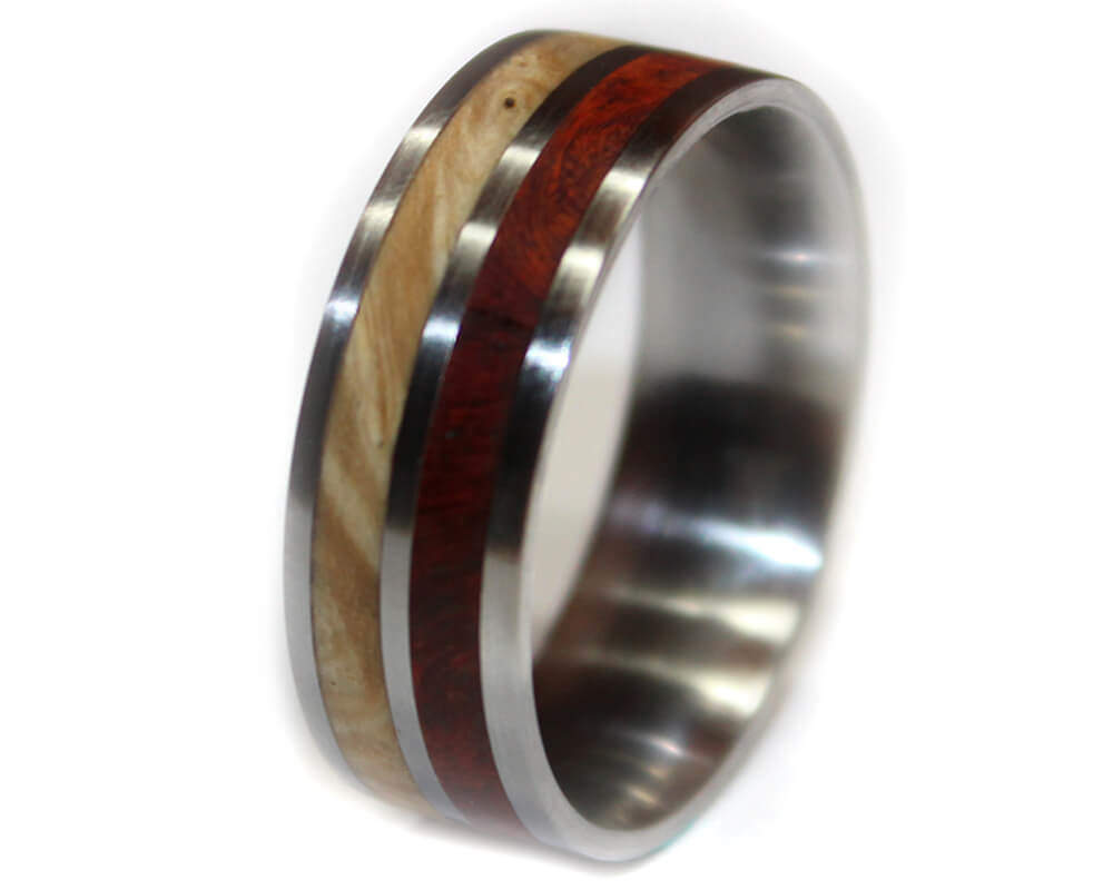 amboyna burl and stainless steel wooden ring wooden rings