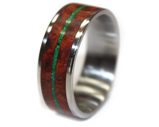 wooden engagement ring for men malachite inlay