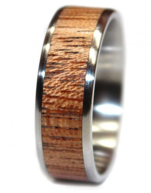 Mahogany custom wood ring band for wedding