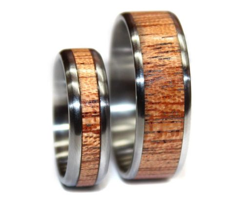Mahogany wood wedding rings sets for couple