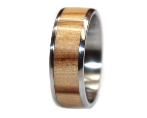 Olivewood wooden wedding ring custom made for men