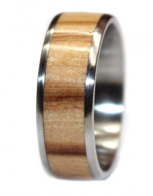 Olivewood wooden wedding ring custom made for men